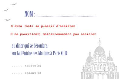 Carton réponse mariage Paris bleu-rouge-gris finition