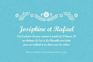 Carton d'invitation mariage violet papel picado turquoise