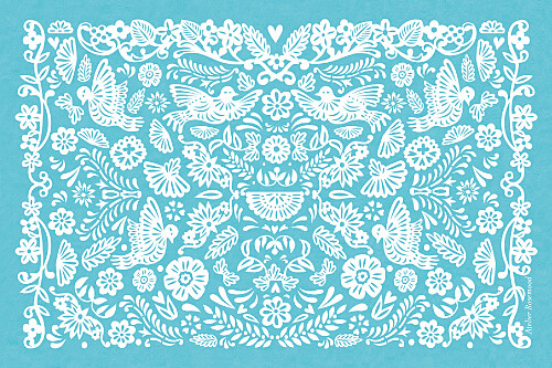 Carton d'invitation mariage Papel picado turquoise - Page 2