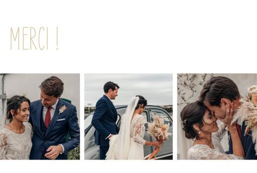 Carte de remerciement mariage Contemporain 3 photos blanc