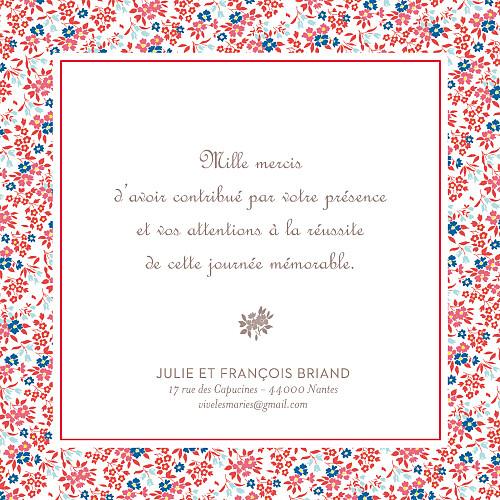 Carte de remerciement mariage Petit liberty rouge - Page 3