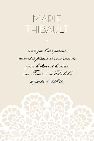 Carton d'invitation mariage Boudoir dentelle beige blanc 2 finition