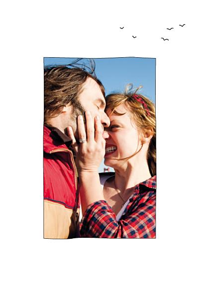 Carte de remerciement mariage Promesse (portrait) blanc finition