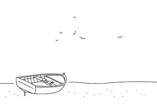 Carton d'invitation mariage Promesse sur le sable barque