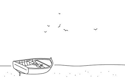 Carton d'invitation mariage Promesse sur le sable barque finition