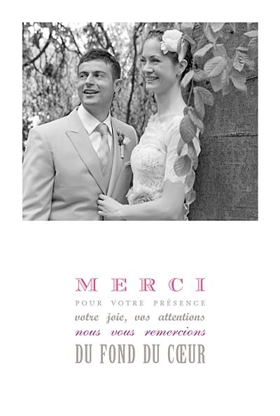Carte de remerciement mariage Le plus beau jour blanc finition