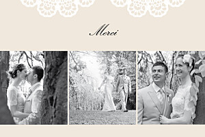 Carte de remerciement mariage beige boudoir dentelle beige blanc