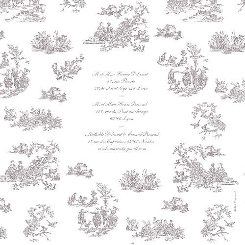 Faire-part de mariage Toile de jouy taupe - Page 4