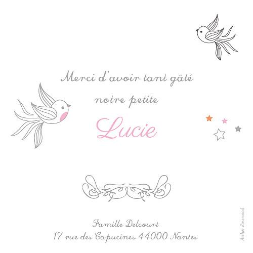 Carte de remerciement Petites étoiles rose - Page 2