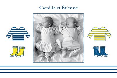 Carte de remerciement Petit marin jumeaux photo bleu jaune finition