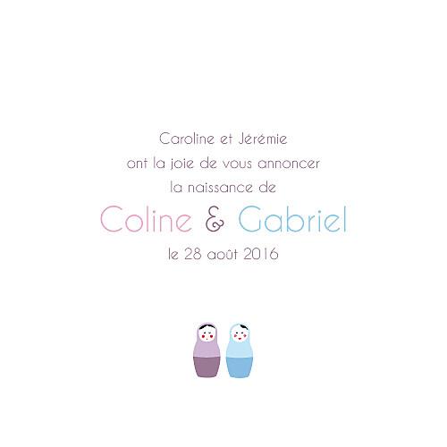 Faire-part de naissance 6 poupées jumeaux photo rose bleu - Page 3