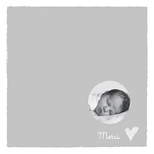 Carte de remerciement coeurs petit coeur photo merci gris