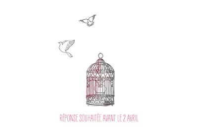 Carton d'invitation mariage Cage à oiseaux rouge finition