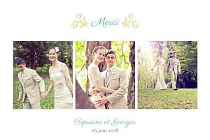 Carte de remerciement mariage mr & mrs clynk  champêtre multicolore
