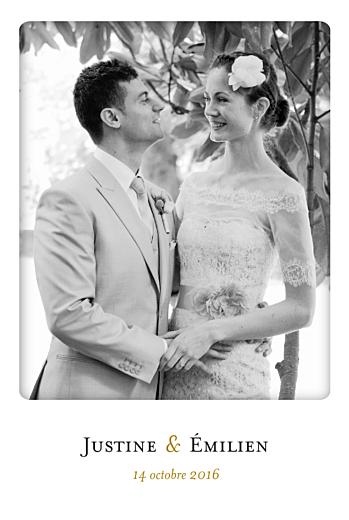 Carte de remerciement mariage Simplement merci blanc
