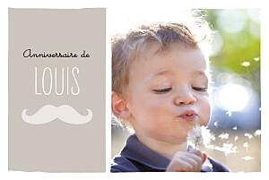 Carte d'anniversaire gris moustache taupe