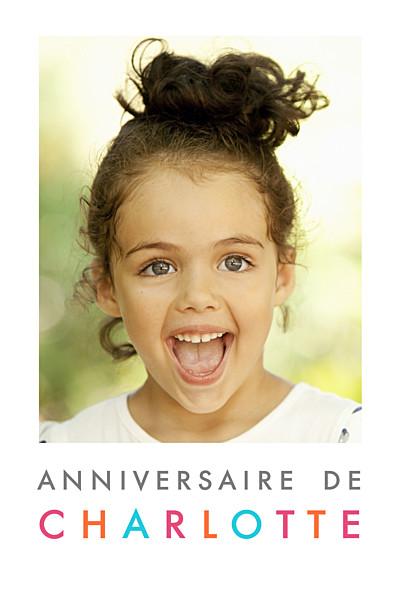 Carte d'anniversaire Justifié photo portrait blanc finition