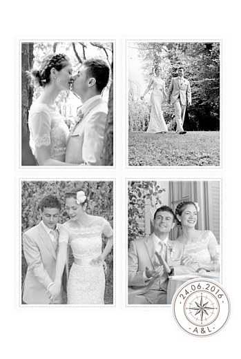 Carte de remerciement mariage Voyage blanc