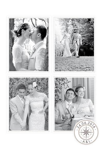 Carte de remerciement mariage Voyage blanc finition