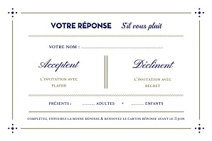 Carton réponse mariage Rétro bleu bronze