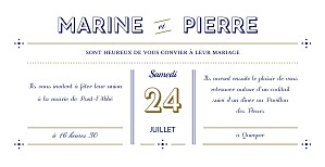 Faire-part de mariage Rétro bleu bronze
