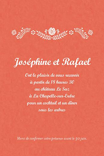 Carton d'invitation mariage Papel picado corail