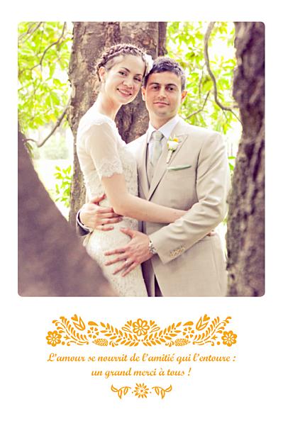 Carte de remerciement mariage Papel picado (portrait) soleil finition