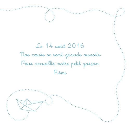 Faire-part de naissance Origami bateau 5 photos bleu - Page 3