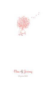 Menu de mariage violet bouquet (panoramique) corail
