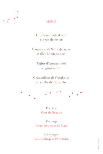 Menu de mariage Bouquet corail - Page 2