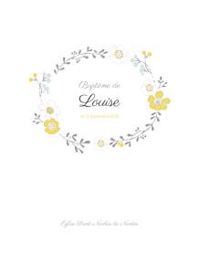 Livret de messe jaune couronne de fleurs ocre