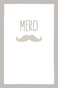 Carte de remerciement Moustache portrait taupe