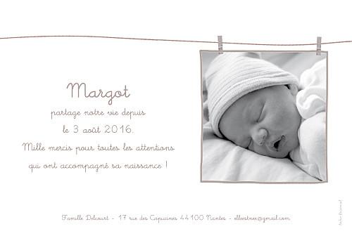 Faire-part de naissance Linge peluche fille photo rv taupe - Page 2