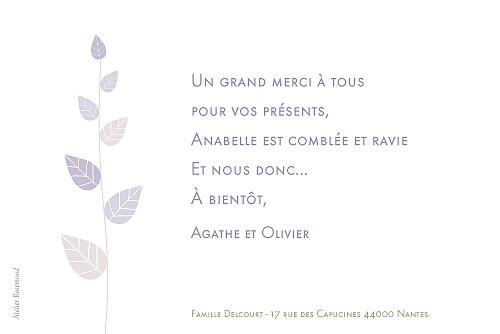 Carte de remerciement Petit élégance fille rv violet - Page 2