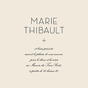 Carton d'invitation mariage noir boudoir beige noir