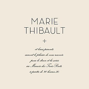 Carton d'invitation mariage beige boudoir beige noir