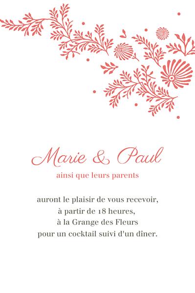 Carton d'invitation mariage Idylle corail finition