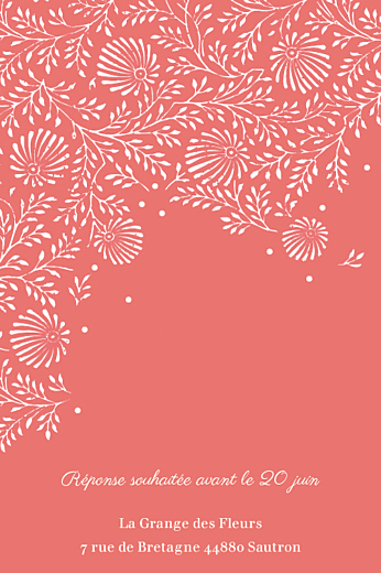 Carton d'invitation mariage Idylle corail - Page 2