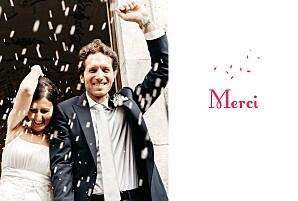 Carte de remerciement mariage rouge bouquet paysage rouge