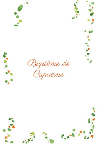 Menu de baptême Capucine orange finition