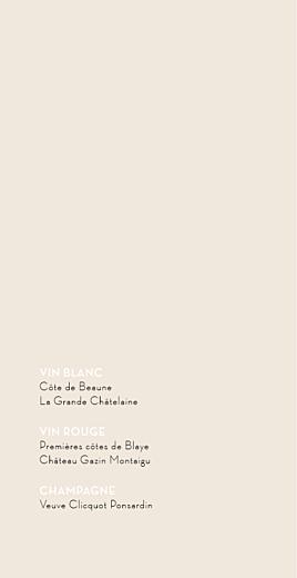 Menu de mariage Boudoir beige noir - Page 2