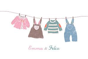 Faire-part de naissance fil à linge fil à linge jumeaux mixte rose vert