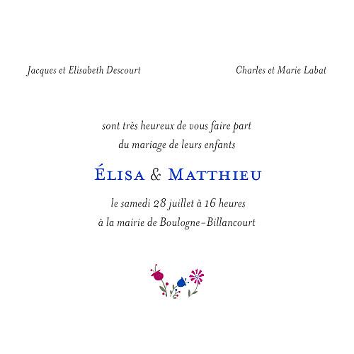 Faire-part de mariage Floraison bleu rose - Page 3