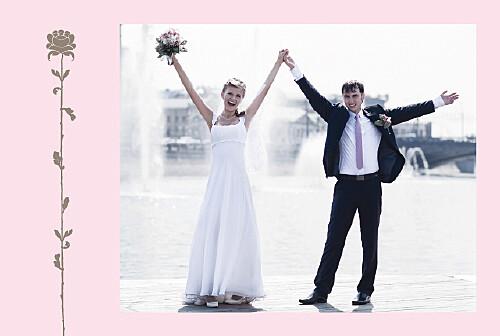Carte de remerciement mariage Fleur de lotus rose taupe