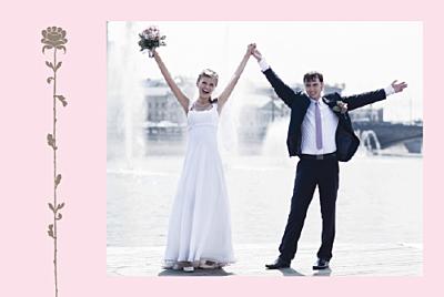 Carte de remerciement mariage Fleur de lotus rose taupe finition