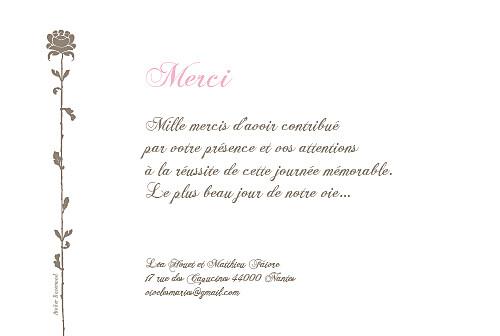 Carte de remerciement mariage Fleur de lotus rose taupe - Page 2