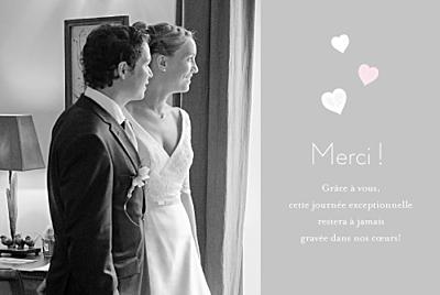 Carte de remerciement mariage Coeurs gris pâle finition