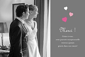Carte de remerciement mariage Coeurs gris rose