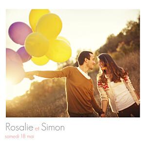 Faire-part de mariage marianne fournigault moderne 3 photos blanc