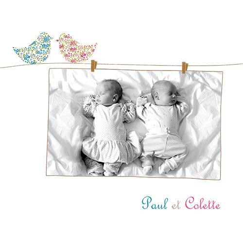 Faire-part de naissance Poétique jumeaux mixte